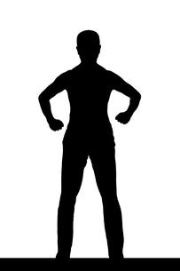 武道系中年男性シルエットのイラスト素材 [FYI04098543]