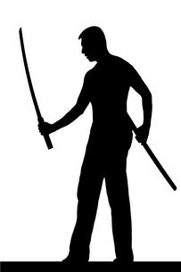 武道系中年男性シルエットのイラスト素材 [FYI04098548]