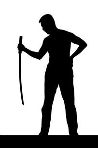 武道系中年男性シルエットのイラスト素材 [FYI04098551]