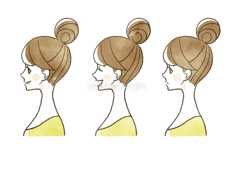 女性-表情(横顔)のイラスト素材 [FYI04098792]