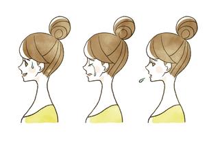 女性-表情(横顔)のイラスト素材 [FYI04098795]