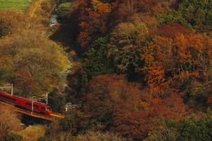 小田急ロマンスカーGSEと紅葉の写真素材 [FYI04099560]