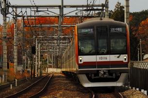 西武池袋線を走る東京メトロ10000系と紅葉の写真素材 [FYI04099561]