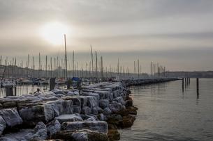 スイス、レマン湖冬景色の写真素材 [FYI04099706]