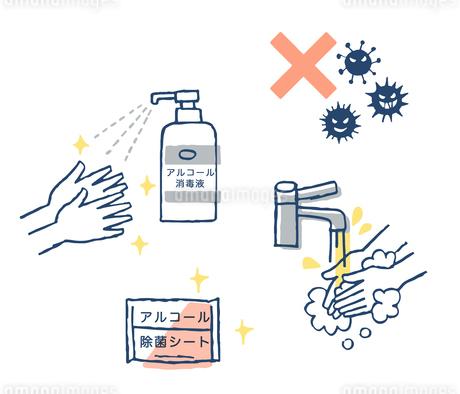手洗いとアルコール消毒のイラスト素材 [FYI04100692]