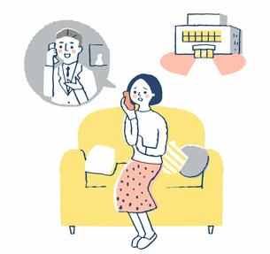 医師に電話相談する女性 病院のイラスト素材 [FYI04100694]