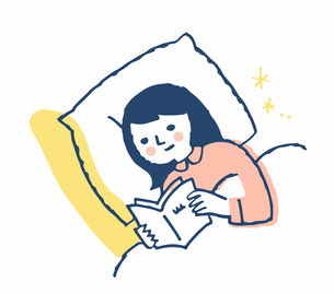 ベッドで本を読む女性のイラスト素材 [FYI04100705]