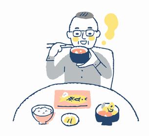 食事をする高齢男性のイラスト素材 [FYI04100707]