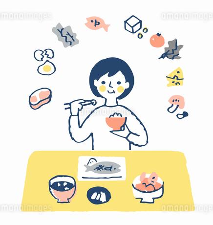 食事をする女性 栄養バランスのイラスト素材 [FYI04100708]