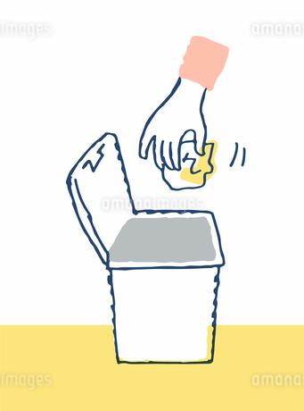 蓋付きゴミ箱とゴミのイラスト素材 [FYI04100709]
