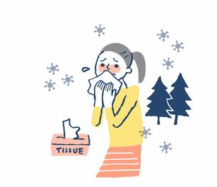 花粉症 鼻水をかむ女性のイラスト素材 [FYI04100710]
