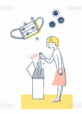 使用済みマスクをゴミ箱に入れる女性のイラスト素材 [FYI04100711]