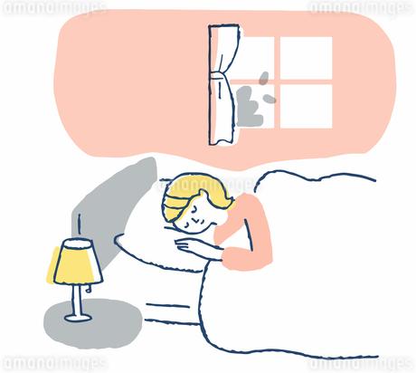 ベッドで寝ている女性のイラスト素材 [FYI04100713]