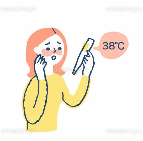 体温を計る女性のイラスト素材 [FYI04100719]