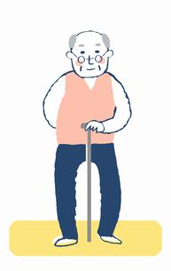 杖をついているおじいちゃんのイラスト素材 [FYI04100724]