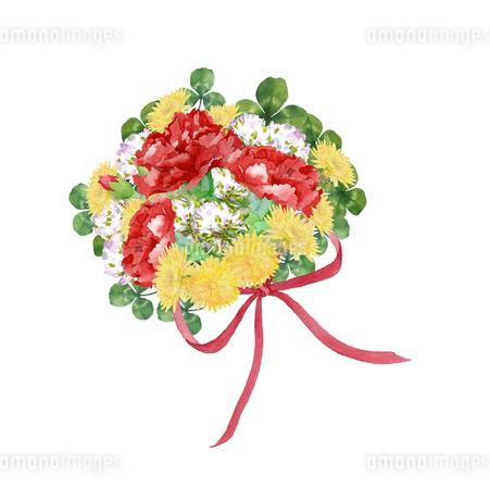 カーネーションと春の花のブーケのイラスト素材 [FYI04101186]