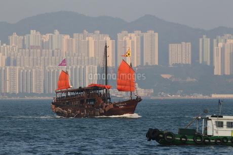 香港・ビクトリア湾を航行する中国の昔のジャンク船を模した観光船「アクアルナ」の写真素材 [FYI04101206]