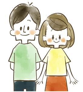 夫婦-カップル-男女-水彩のイラスト素材 [FYI04102065]