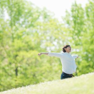 木立の中で伸びをする女性の写真素材 [FYI04102530]