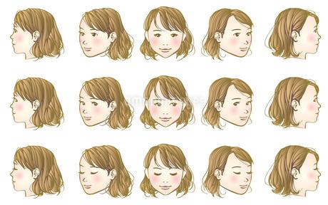 女子頭部180度のイラスト素材 [FYI04103211]