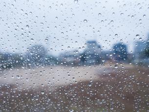 雨の日にビニール傘越しからみる町並み 雨粒の写真素材 [FYI04103572]