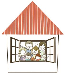 三世代家族-家のイラスト素材 [FYI04104246]