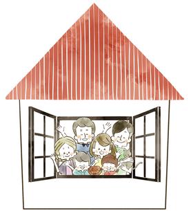 三世代家族-家-水彩のイラスト素材 [FYI04104247]