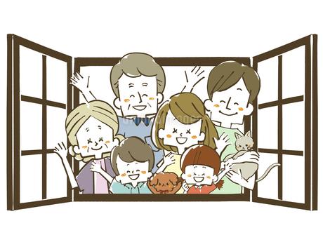 三世代家族-窓のイラスト素材 [FYI04105056]