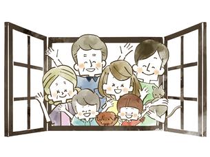 三世代家族-窓-水彩のイラスト素材 [FYI04105057]