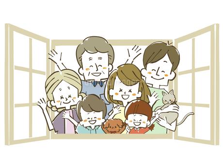 三世代家族-窓のイラスト素材 [FYI04105058]