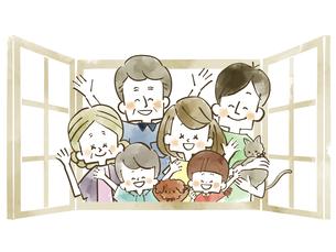 三世代家族-窓-水彩のイラスト素材 [FYI04105059]