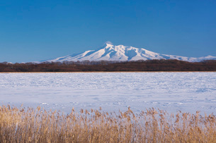 濤沸湖と斜里岳の冬の写真素材 [FYI04105341]