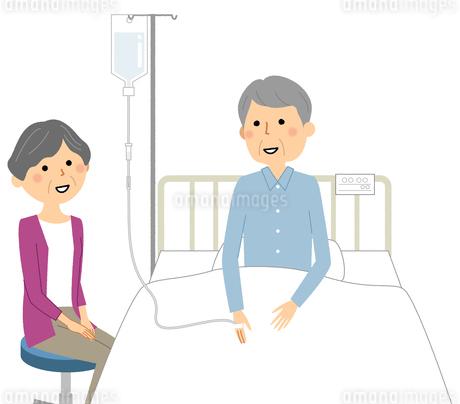 入院している高齢者 看病 お見舞いのイラスト素材 [FYI04105782]