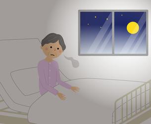 シニア女性 入院 不眠のイラスト素材 [FYI04105789]