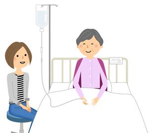 入院している高齢者 看病 お見舞いのイラスト素材 [FYI04105791]