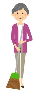 シニア女性 掃除のイラスト素材 [FYI04105796]