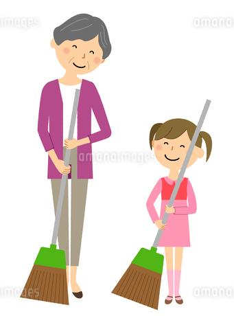 シニア女性と女の子 掃除のイラスト素材 [FYI04105797]