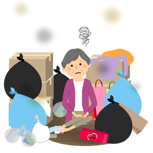 ゴミと高齢者 シニア女性のイラスト素材 [FYI04105798]