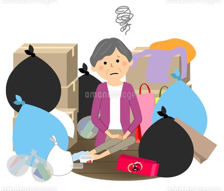 ゴミと高齢者 シニア女性のイラスト素材 [FYI04105799]