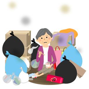 ゴミと高齢者 シニア女性のイラスト素材 [FYI04105801]