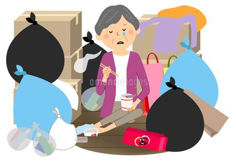 ゴミと高齢者 シニア女性のイラスト素材 [FYI04105804]