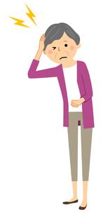 シニア女性 頭痛のイラスト素材 [FYI04105816]