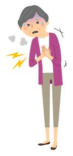 シニア女性 胸の痛みのイラスト素材 [FYI04105818]