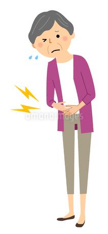 シニア女性 腹痛のイラスト素材 [FYI04105821]