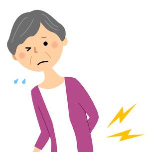 シニア女性 腰痛の写真素材 [FYI04105828]