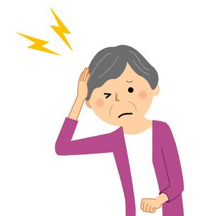シニア女性 頭痛のイラスト素材 [FYI04105830]