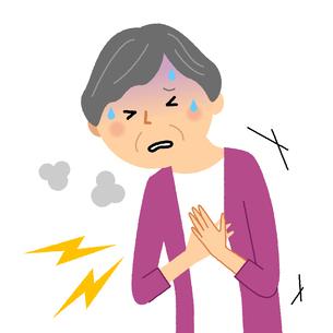 シニア女性 胸の痛みのイラスト素材 [FYI04105832]