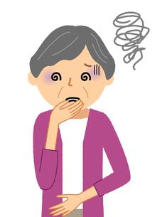 シニア女性 吐気のイラスト素材 [FYI04105834]