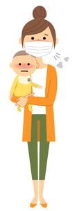 若い女性と赤ちゃん 風邪 インフルエンザのイラスト素材 [FYI04105856]