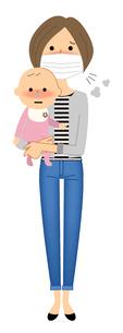 若い女性と赤ちゃん 風邪 インフルエンザのイラスト素材 [FYI04105858]